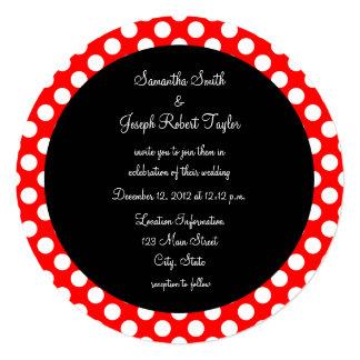 赤と白の水玉模様の黒の円の結婚式 カード