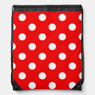 赤と白の水玉模様パターン ナップサック