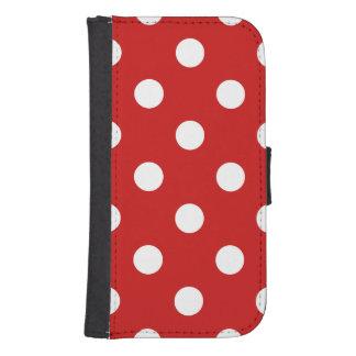 赤と白の水玉模様パターン フリップ GALAXY S4ケース