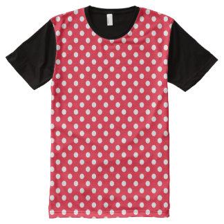 赤と白の水玉模様 オールオーバープリントT シャツ