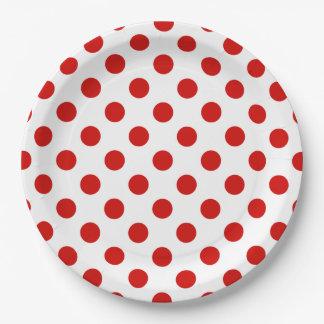 赤と白の水玉模様 ペーパープレート