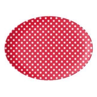 赤と白の水玉模様 磁器大皿