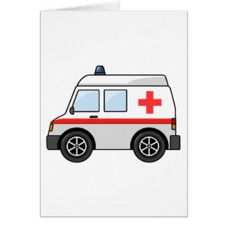 赤と白の漫画の救急車 カード