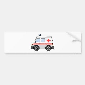 赤と白の漫画の救急車 バンパーステッカー