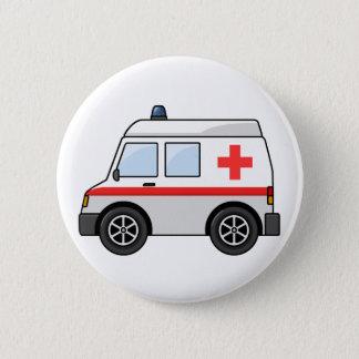 赤と白の漫画の救急車 缶バッジ
