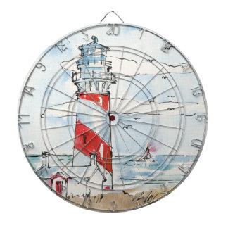 赤と白の灯台場面 ダーツボード