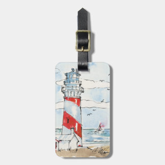赤と白の灯台場面 ラゲッジタグ