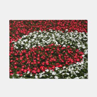 赤と白の花 ドアマット