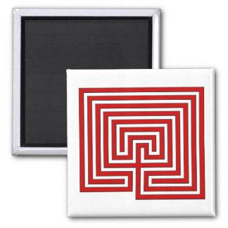 赤と白の迷路の正方形の磁石 マグネット