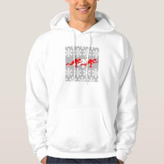 赤と白の速度のスケート選手 パーカ