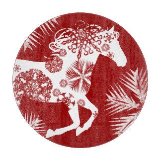 赤と白の雪片のクリスマスの馬 カッティングボード