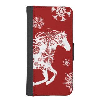 赤と白の雪片のクリスマスの馬 iPhoneSE/5/5sウォレットケース