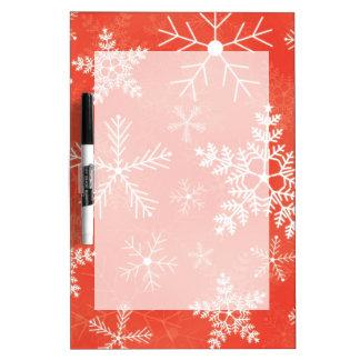 赤と白の雪片パターン ホワイトボード