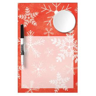 赤と白の雪片パターン ミラー付きホワイトボード