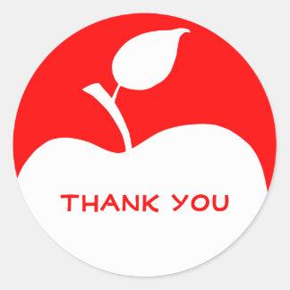 赤と白のAppleは感謝していしています ラウンドシール