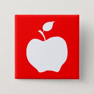 赤と白のApple 5.1cm 正方形バッジ