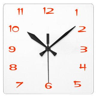赤と白のPlain>Squareの台所柱時計 スクエア壁時計