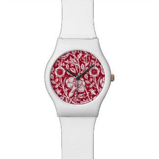 赤と白アールヌーボーのカーネーションのダマスク織 腕時計