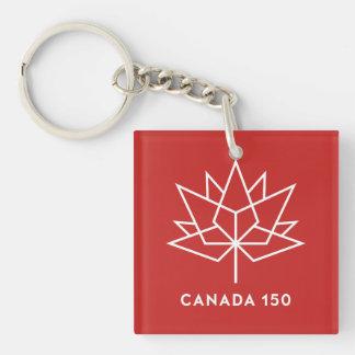 赤と白カナダ150の役人のロゴ- キーホルダー