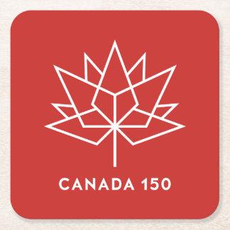 赤と白カナダ150の役人のロゴ- スクエアペーパーコースター