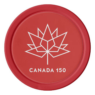 赤と白カナダ150の役人のロゴ- ポーカーチップ