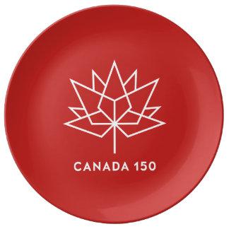 赤と白カナダ150の役人のロゴ- 磁器プレート