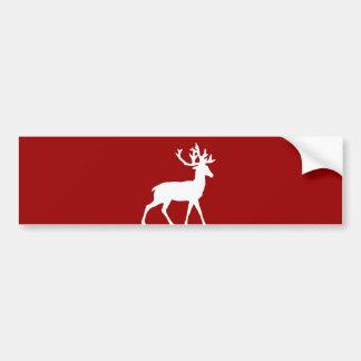 赤と白シカのシルエット- バンパーステッカー