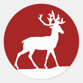 赤と白シカのシルエット- ラウンドシール