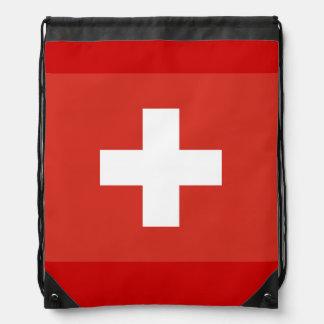 赤と白スイスの十字の旗のドローストリングバッグ  ナップサック