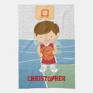 赤と白バスケットボール選手 キッチンタオル