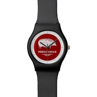 赤と白ベーコンの恋人のPorkatarianのヴィンテージのブタ 腕時計