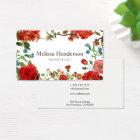 赤と白ヴィンテージの花柄 名刺