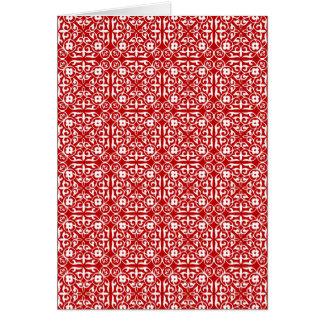 赤と白中世ダマスク織パターン カード