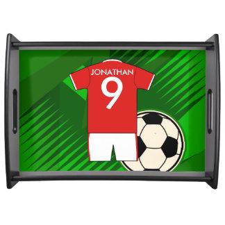 赤と白名前入りなサッカージャージー トレー