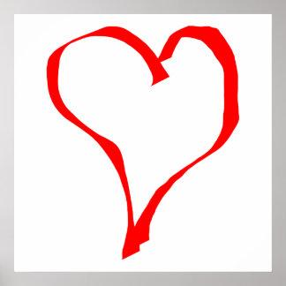 赤と白愛ハートの設計 ポスター