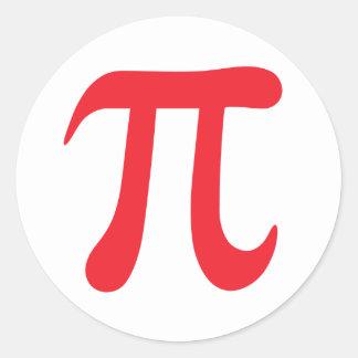 赤と白piの数学記号のステッカー ラウンドシール