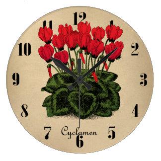 赤によっては植物の時計-ヴィンテージのシクラメン--が開花します ラージ壁時計