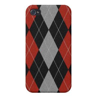 赤によってスタイルのアーガイル柄のなIphoneの編まれる箱 iPhone 4/4Sケース