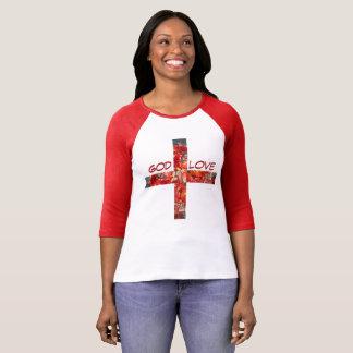 """赤によって印刷されるTシャツの""""神 +愛"""" Tシャツ"""