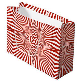 赤によって曲げられるラインパターン ラージペーパーバッグ