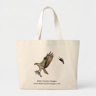 赤によって追跡されているミサゴによってはクロドリが飛びました ラージトートバッグ