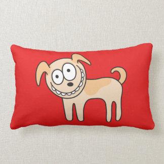 赤のおもしろいな小犬のかわいい子供の動物の漫画 ランバークッション