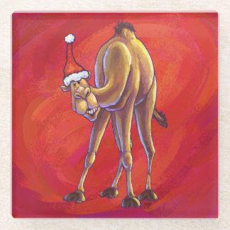 赤のかわいいラクダのクリスマス ガラスコースター