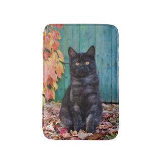 赤のかわいい黒猫の子ネコは青いドアを去ります。 バスマット
