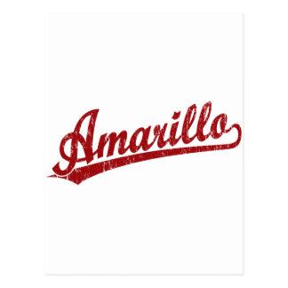 赤のアマリロの原稿のロゴ ポストカード