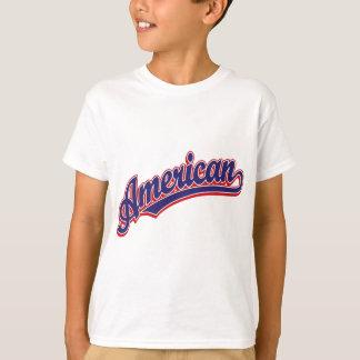 赤のアメリカの原稿のロゴの青 Tシャツ