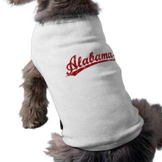 赤のアラバマの原稿のロゴ ペット服