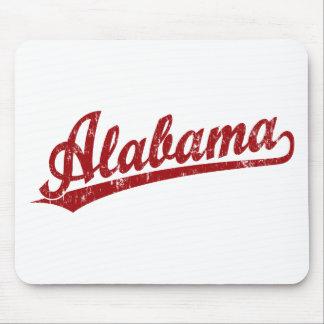 赤のアラバマの原稿のロゴ マウスパッド