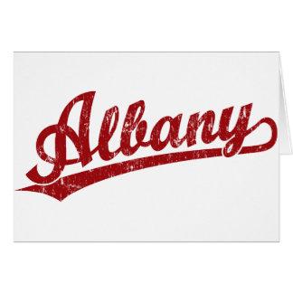 赤のアルバニーの原稿のロゴ カード