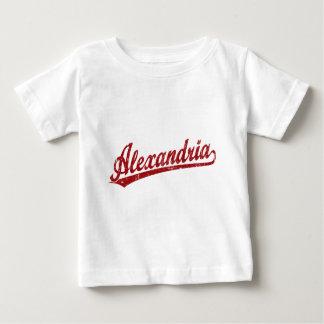 赤のアレキサンドリアの原稿のロゴ ベビーTシャツ